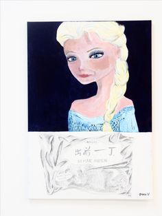 Frank Vivier, La Reine des Neiges avec Nouilles, Acrylique sur toile, 70 par 100 cm, 2017