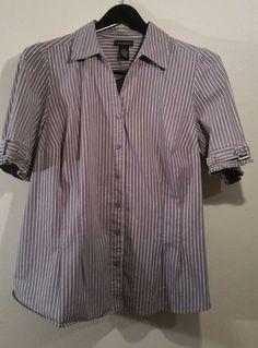 Lane Bryant 18 20 Short Sleeve Button Down  Shirt Shiny Stripes Gray Plus Shirt #LaneBryant #Blouse