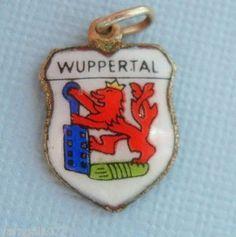 Vintage WUPPERTAL GERMANY EUROPE TRAVEL SHIELD Silver Enamel Charm