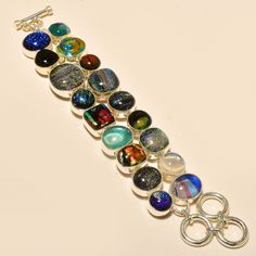 "Dichroic Glass 925 Sterling Silver Jewelry Bracelet 7-8"" #Handmade #Statement"