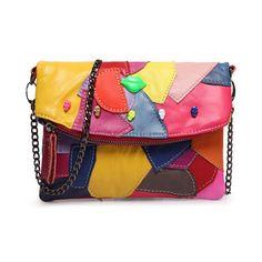 Designer Colorful Patchwork Genuine Leather Handbag Small Soft Sheep Skin Female Chain Clutch Women Skull Messenger Bag 2Colors