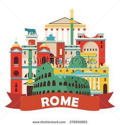 Rome skyline. Vector illustration - stock vector