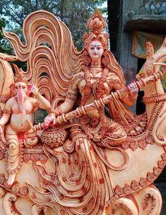 Saraswati Photo, Saraswati Idol, Saraswati Statue, Lord Shiva Statue, Saraswati Goddess, Radha Krishna Photo, Krishna Art, Shiva Photos, Krishna Pictures