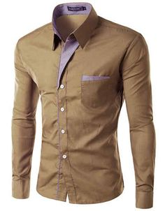 Slim Fit Shirt w/ Contrasting Placket Khaki