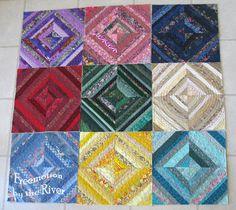 Rainbow color string quilt blocks