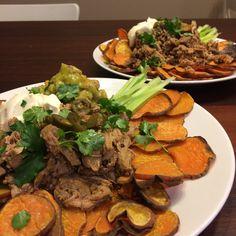 Buffalo wing inspired sweet potato nachos! | GrowEatRun