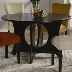 Coaster Castana Round Dining Table with Crossing Pedestal Base by Coaster Home Furnishings, http://www.amazon.com/dp/B004BHWPQA/ref=cm_sw_r_pi_dp_MiCusb04Q8VAB--****Tonya: use with current black microfiber black parsons chairs--treat legs of chairs to match. Espressos wood goes with slim buffet/sofa table in back. Possible new light fixture--use the current fixture in kitchen over bistro set with matching small or colorful pendant above sink.