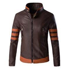 Color Block Splicing Design Plus Size Zip Up PU Leather Jacket