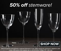 50% off on selected stemware this weekend! Details in the image. http://noritakechina.com/drinkware/crystal-stemware.html/