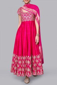 Designer Suits - Buy Anika Suit for Women Online - Pink - Anita Dongre Long Dress Design, Stylish Dress Designs, Designs For Dresses, Stylish Dresses, Indian Gowns Dresses, Indian Fashion Dresses, Dress Indian Style, Pakistani Dresses, Indian Wear