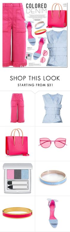 """PINK n' BLUE"" by nanawidia ❤ liked on Polyvore featuring Paco Rabanne, Gentle Monster, RMK, Whistle & Bango, Halcyon Days, Oscar Tiye, contestentry, coloredjeans, polyvoreeditorial and polyvorecontest"