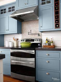 Valspar Paint, Blue Twilight 5001-1C  CABINET COLOR & dark gray concrete countertops