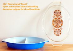 """LEMP EST. GORGEOUS VINTAGE COLLECTIBLE 1961 """"ROYAL"""" PROMOTIONAL OVAL DIVIDED PYREX DISH. For only $39.99 plus shipping you can serve more than one dish to guests without multiple ovenware pieces, saving valuable table space. So go ahead and put hummus on one side, and yogurt dip on the other, or couscous salad on one side and potato salad on the other – the delicious combinations are endless! This dish can go directly from the oven to the table and is dishwasher, microwave,  and freezer…"""