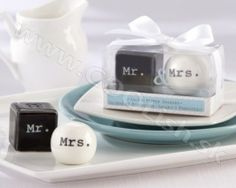 and Mrs. Wedding Salt and Pepper Shakers Mr. and Mrs. Salt and Pepper Shakers imageMr. and Mrs. Salt and Pepper Shakers image Wedding Favors And Gifts, Gift Wedding, Wedding Table, Party Favours, Party Wedding, Mr Mrs, Salt Pepper Shakers, Salt And Pepper, Table Cadeau