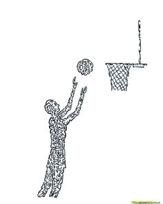 BASKETBALL PLAYER - MADE OF LITTLE FACES - Created by comic illustrator, 'NICHOLAS', for a series of hundreds of humorous, original images, drawn with little faces and objects. These drawings can be placed on any variety of objects - from posters, greeting cards, postage stamps, to t-shirts, children's wallpaper, coffee and beer mugs, and pillows, as well as sports items. These illustrations are available on many objects sold by 'Zazzle', by going to 'Minifaces by Nicholas'.