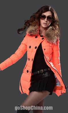 Orange winter down coats for women with fur sale cheap from China Down Winter  Coats 15b2ab39c