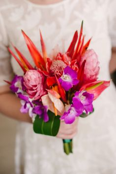 Tropical treat: http://www.stylemepretty.com/2015/07/16/30-bright-beautiful-bouquets-for-the-bold-bride/