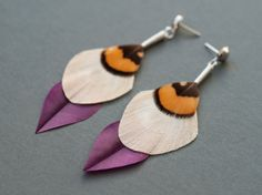 Minimalist Dangle Feather Earrings in by Stilltreejewellery on #Etsy