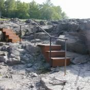 metal stairs and stone