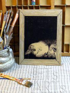 Wood Print  SLEEPY PRETTY KITTY  Original Photo Printed by ETsARTs, $28.00