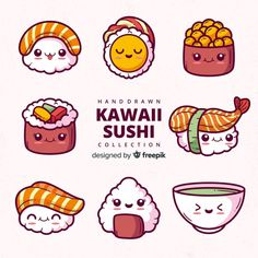 More than 3 millions free vectors, PSD, photos and free icons. Exclusive freebies and all graphic resources that you need for your projects Doodles Kawaii, Food Doodles, Cute Doodles, Kawaii 365, Arte Do Kawaii, Kawaii Cute, Kawaii Illustration, Japon Illustration, Arte Do Sushi