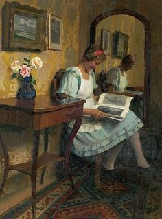 Mariska reading (c.1928). Emil Pap (Hungarian, 1884-1945).