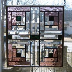 Log Cabin Quilt Block REAL Stained Glass Window Panel in Antiques, Architectural & Garden, Stained Glass Windows Stained Glass Quilt, Stained Glass Designs, Stained Glass Panels, Stained Glass Projects, Stained Glass Patterns, Leaded Glass, Beveled Glass, Window Glass, Mosaic Glass
