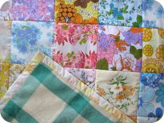 Patchwork quilt made from vintage sheets and wool blanket.