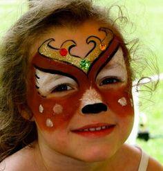 Quick Reindeer face paint idea for Christmas.