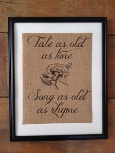 Rustic burlap art Tale as Old as Time Beauty and the Beast Fairy tale ARTWORK…