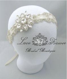 Crystal Rhinestone Wedding Headband Bridal by LoveForeverBridal, $105.00