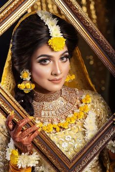 We Provide Exclusive Gaye Holud Jewelry,Wedding Jewelry, and Artificial Flowers Hair Bun. Authentic Store of Women's Luxury Wedding Goods. To Get Any Worldwide vice Within Your Demands.Call us or Whatsup us Indian Wedding Makeup, Wedding Makeup Looks, Bridal Shoot, Wedding Photoshoot, Bridal Beauty, Bridal Makeup, Designer Bridal Lehenga, Bridal Sarees, Wedding Advice