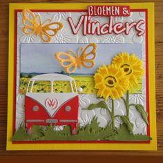Bloemen en vlinders/Frankrijk Crafts To Do, Hobbies And Crafts, Combi Ww, Abraham And Sarah, Paper Art, Paper Crafts, Beach Cards, Birthday Cards For Women, Marianne Design