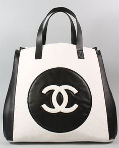 Chanel White Terry & Black Leather Beach Tote