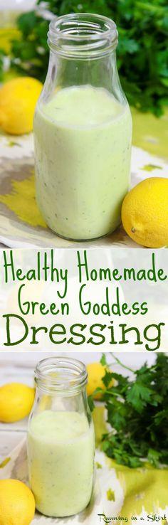 Buddha Bowl Sauce: Healthy Homemade Green Goddess Dressing recipe with greek yogurt / Running. Healthy Dips, Healthy Salad Recipes, Diet Recipes, Healthy Eating, Veggie Recipes, Healthy Food, Goddess Dressing Recipe, Green Goddess Dressing, Creamy Salad Dressing