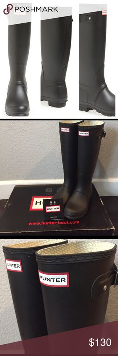 Hunter original tall boots black EU 37 UK4 Used twice.  Gently used. This is in great pre-owned condition.  All of my items come from a smoke and pet free home.  Please let me know if you have any questions or need more pics. Hunter Shoes Winter & Rain Boots