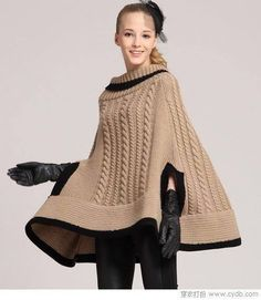 Handmade crochet poncho Made from wool and acrylic. Poncho Shawl, Poncho Sweater, Cable Knitting Patterns, Crochet Summer Tops, Crochet Winter, Knitted Cape, Ladies Poncho, Crochet Clothes, Ideias Fashion