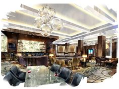 "Lobby and lounge rendering : Royal Sonesta Hotel in Texas   ""To make the changeover complete, Royal Sonesta has hired Dallas-based Looney & Associates to inject ""a modern fusion of style and substance"" into the hotel with a scheme that is ""decidedly international, urban, chic and flavored by the principles that make Houston a leader in energy, medicine and space exploration."""
