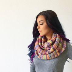 Ravelry: Misty Rainbow Scarf pattern by Life Is Cozy Crochet Sock Pattern Free, Knitting Patterns Free, Free Pattern, Free Knitting, Crochet Patterns, Crochet Ideas, Crochet Baby, Knit Crochet, Infinity Scarf Knitting Pattern