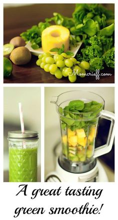 Get green...with a smoothie! Healthy, all natural but still easy to make.  A great way to have some clean eating food (in a beverage!).- Momcrieff