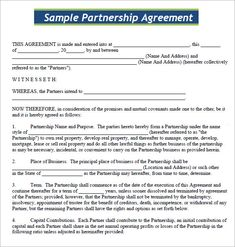 Business Partnership Agreement  Partnership Agreement Templates