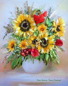 """picture """"Sun sun sun 2"""",  Silk ribbon embroidery, sunflowers embroidery,art of embroidery,ribbonwork di SilkRibbonembroidery su Etsy"""
