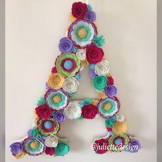 Flowers Letter, Floral Letter, Felt Flowers Letter, Nursery Decor, Flower Letter Nursery, Wedding Backdrop by juliettesdesigntr on Etsy https://www.etsy.com/listing/603948847/flowers-letter-floral-letter-felt