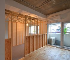 Unfinished concrete is combined with exposed plywood in this Tokyo apartment renovated by Japanese architecture firm TANK Tokyo Apartment, Japanese Apartment, Japanese Architecture, Architecture Design, Condominium Interior, Plywood Interior, Wood Interiors, Deco, Windows And Doors