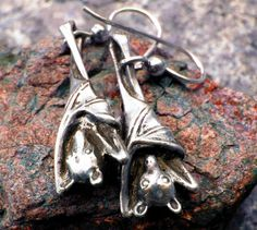 Sleepy Bat Earrings Halloween in Sterling Silver Jewelry Bat