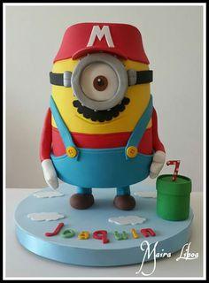 Minion Mario Bros - Cake by Maira Liboa Mario Bros Kuchen, Mario Bros Cake, Super Mario Cake, Torta Minion, Bolo Minion, Birthday Cake Bakery, Cupcake Birthday Cake, Minion Cookies, Minion Cupcakes