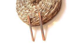 Copper earrings/Long bar earrings/Modern earrings/Minimal