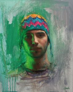 Ignat Ignatov (Bulgarian/American, born 1978) is an Impressionist painter.  Self Portrait in Green Light.