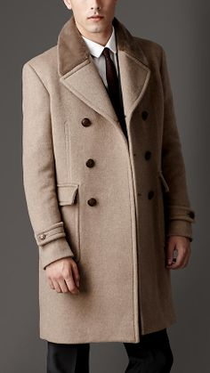 Mink Collar Cashmere Coat in Mink (FRONT). A classic military DB greatcoat featuring a martingale, structured button-detail back pleat and oversize notch lapels. Burberry