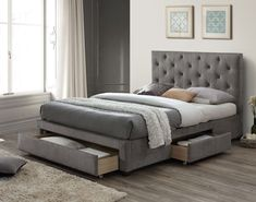 Linen upholstered bed frame in grey velvet. Features a large padded headboard and a sprung slatted base Available in two Sizes; Double x King Size x Manufactured by Limelight also known as Gross Upholstered Storage Bed. Ottoman Storage Bed, Bed Storage, Beds With Storage, Double Bed With Storage, Storage Drawers, Fabric Storage, Hidden Storage, Best Storage Beds, Storage Headboard